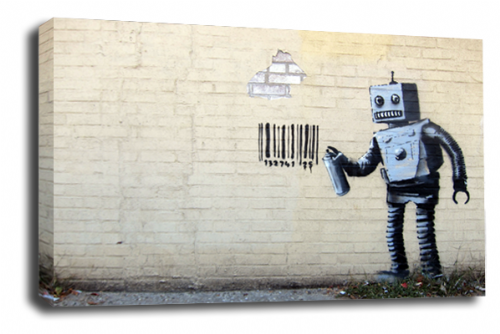 Banksy Art Graffiti Robot Wall Canvas Peace Love Picture